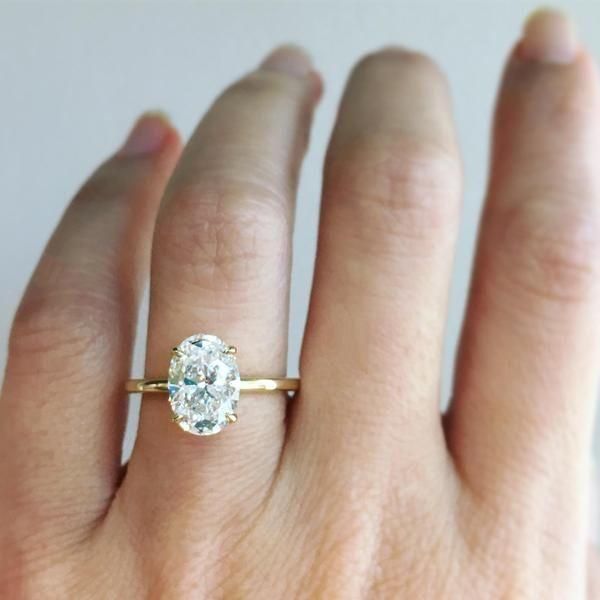 2.10ct Oval Diamond Aura Ring