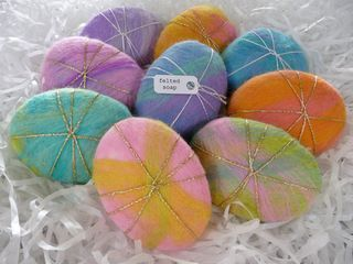 Felted soaps -- they last longer than uncovered soaps, and the felt shrinks with the soap, leaving you with a scrubby at the end! From Rosiepink.