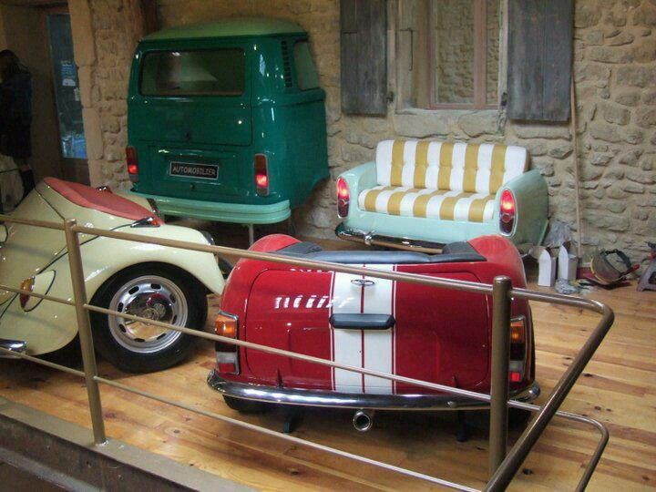 Vw furniture wall art car parts pinterest buses for Furniture made from cars