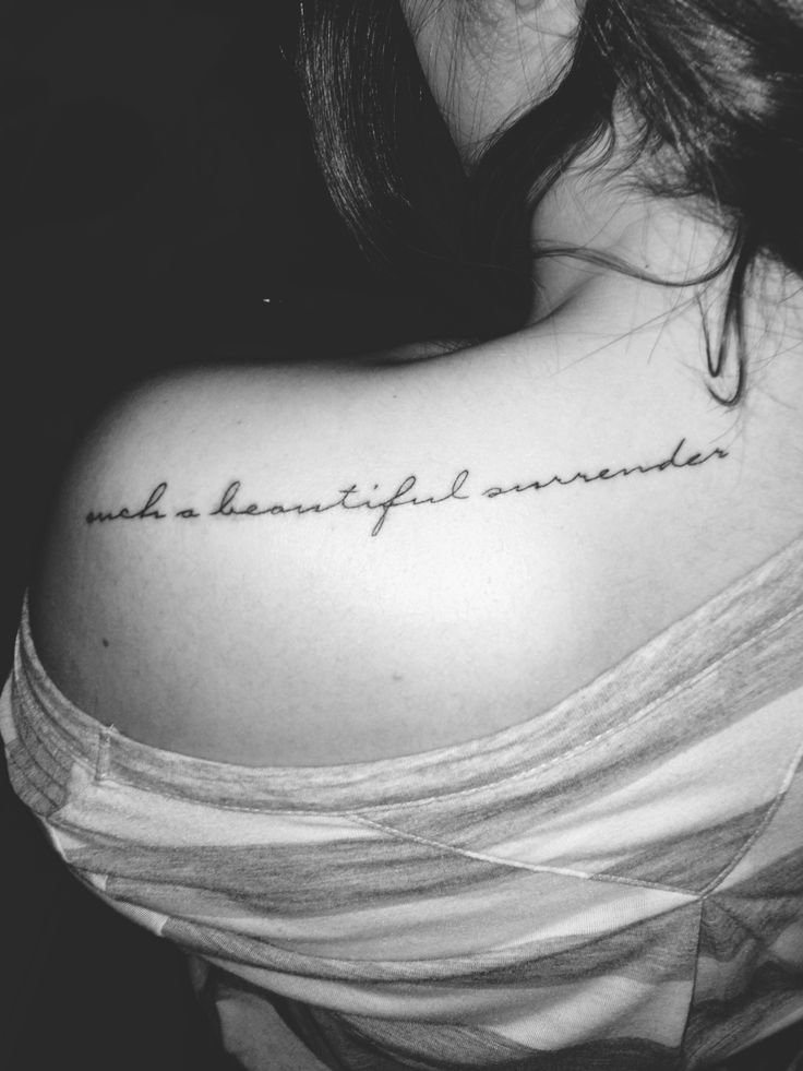 Such a beautiful surrender my first tattoo small for Small cursive tattoos
