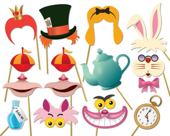 Alice in wonderland party photo booth props set - Printable PDF. Mad Hatters Tea Party photobooth - 0174