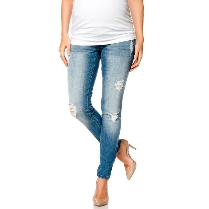 10 Best Maternity Jeans Under $100 - #9 Motherhood Maternity Indigo Blue Premium Deconstructed Maternity Skinny Jeans #rankandstyle