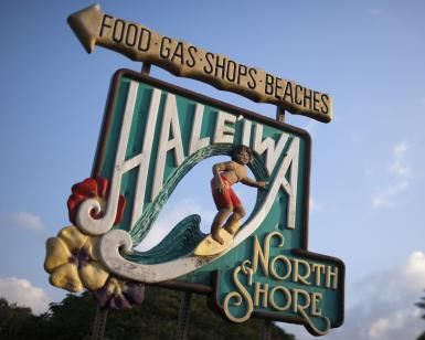 The Haleiwa town welcome sign is seen on Oahu's North Shore, January 28, 2012 in Haleiwa, Hawaii. - Marco Garcia/Getty Images Entertainment/Getty Images