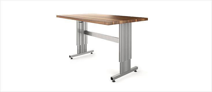 Höhenverstellbares Tischuntergestell TT mit Bein, Quertraverse und Füssen – Ergoswiss AG