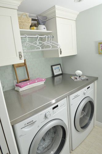 I love the thing above the washer and drier. Perfect for folding!! I wonder if I could DIY one. Ideas anyone?? Elizabeth @Sam McHardy McHardy McHardy ideas?? I know you have to have one :)