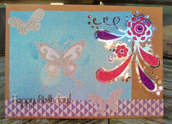 Silver Butterflies  handmade card happy by RogueKissedCraft