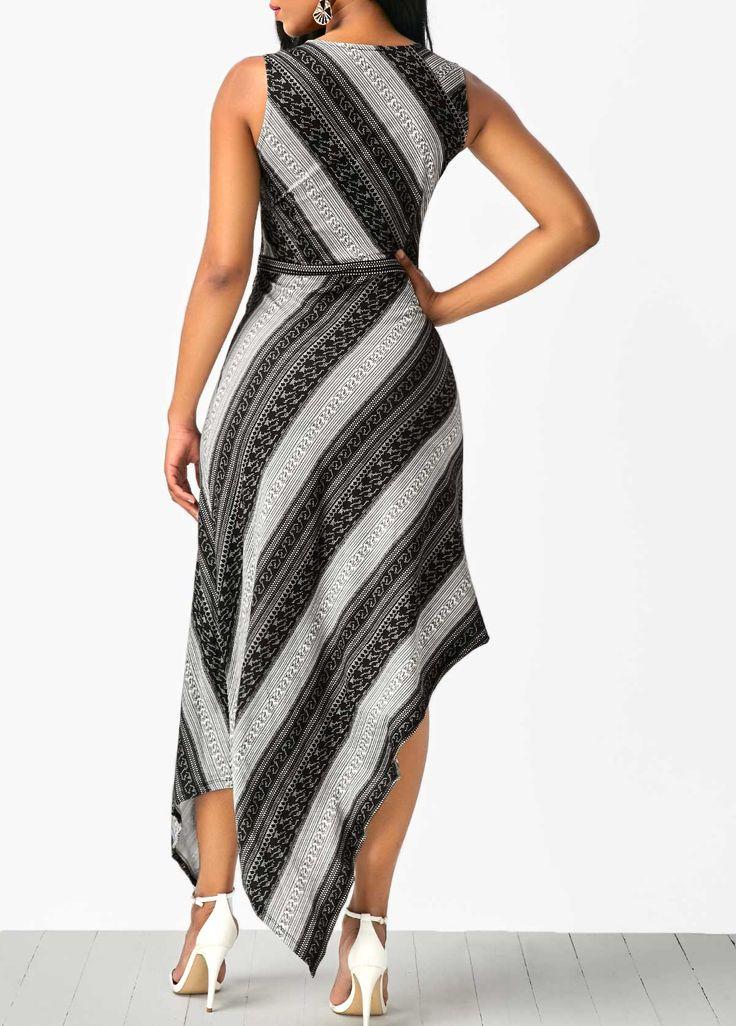 Sleeveless V Neck Printed Asymmetric Hem Dress   Rosewe.com - USD $33.53