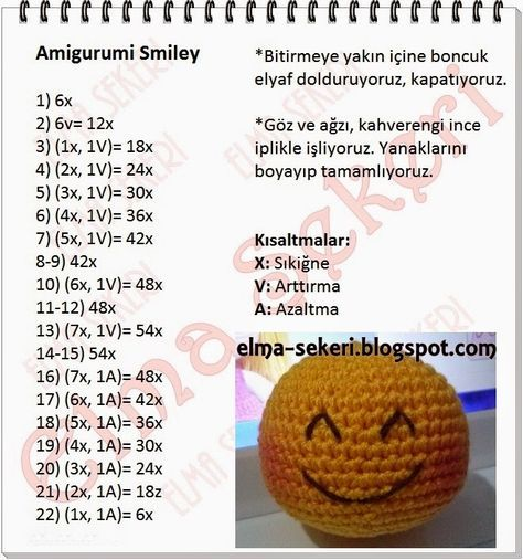 Amigurumi free pattern, ücretsiz tarif, amigurumi smiley