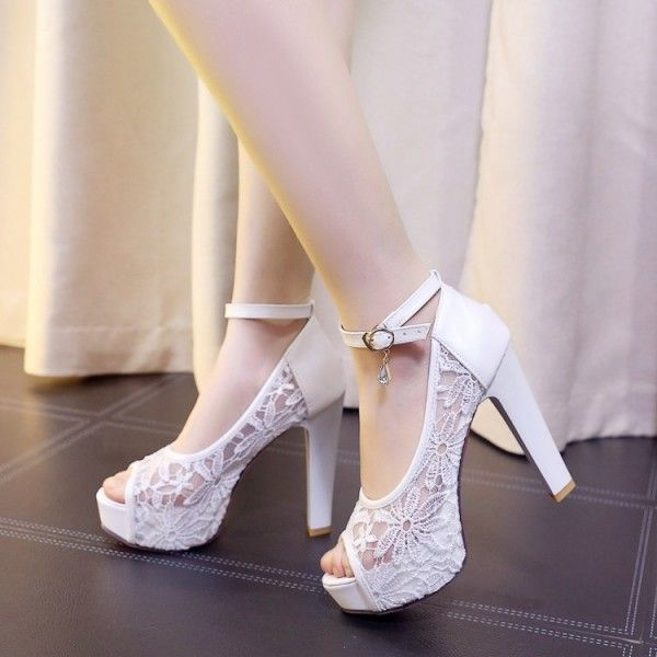 Women S Wedding Shoes Winter Fashion Peep Toe Lace Hollow Out Platform Stiletto Heels Ankle Strap Sandals Platform Heels Chunky Winter Wedding Shoes Lace Heels