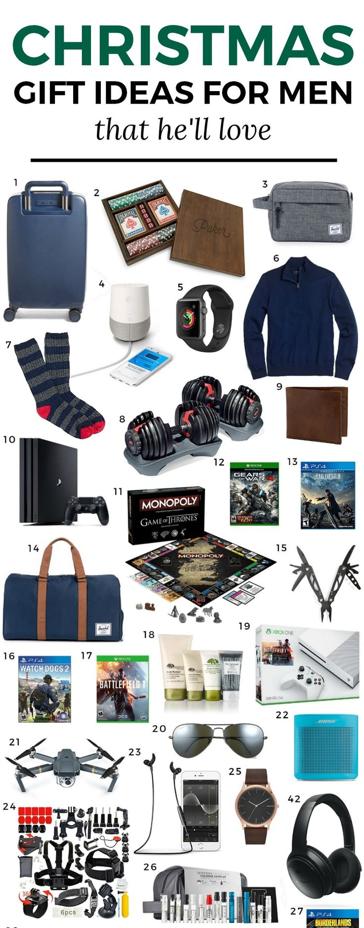 The Best Christmas Gift Ideas for Men | The ultimate Christmas gift guide for men by blogger Ashley Brooke Nicholas featuring man-approved gift ideas | Christmas gifts, holiday gifts, gifts for men