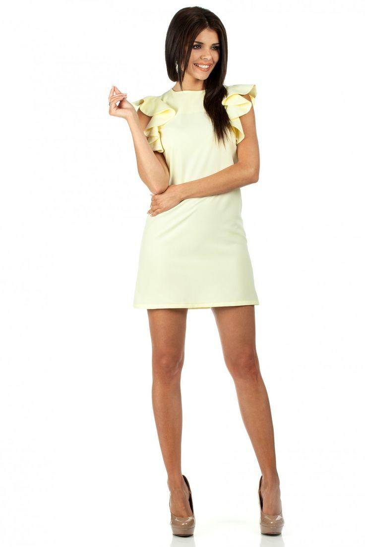 Sukienka Model MOE099 Yellow Prosta, gładka mini sukienka bez rękawów. Przy ramionach ozdobne falbany. #modadamska #sukienkiletnie #sukienka #suknia #sklepinternetowy #allettante