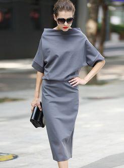 Brief Slash Neck Bat Sleeve Pure Color Slim Dress