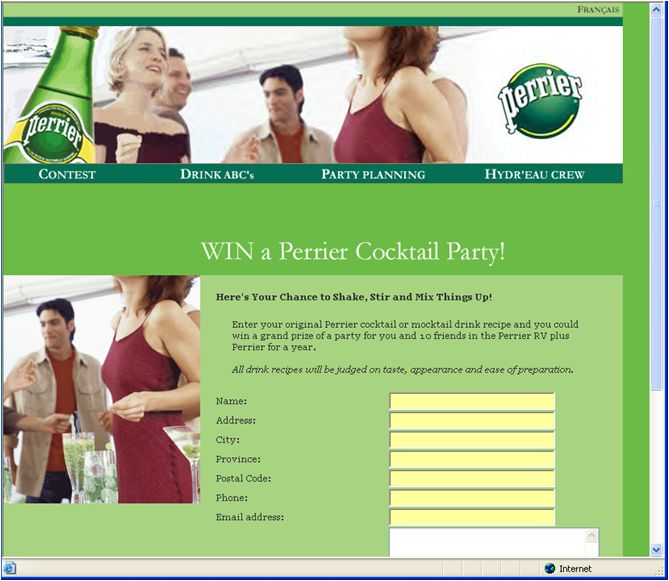 #NestleWaters #Perrier Cocktail Party Contest Web Site