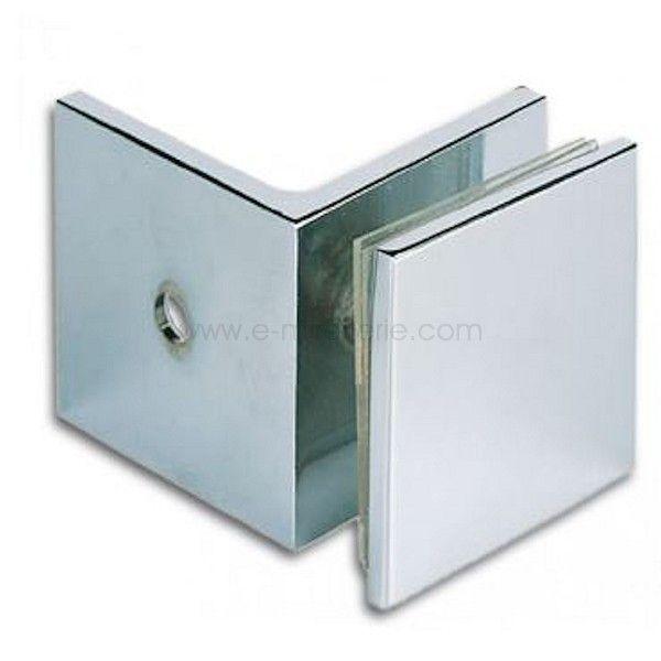 Raccord 90° verre-mur chromé pour paroi douche - verre de 8 a 12mm