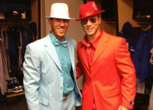 Tee Hee. JP Arencibia and Brett Lawrie dressed as Dumb and Dumber