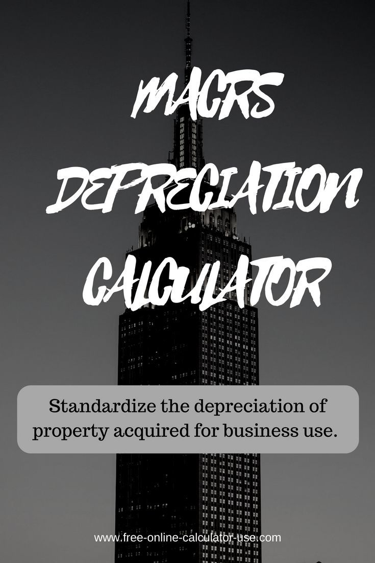 This free online depreciation calculator will calculate the rate and expense amount for a personal or real property for a given year based on the Modified Accelerated Cost Recovery method as described in Chapter 4 of IRS Publication 946 - How To Depreciate Property.
