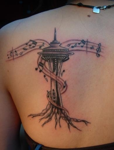 Seattle Space Needle tattoo. Brilliant.