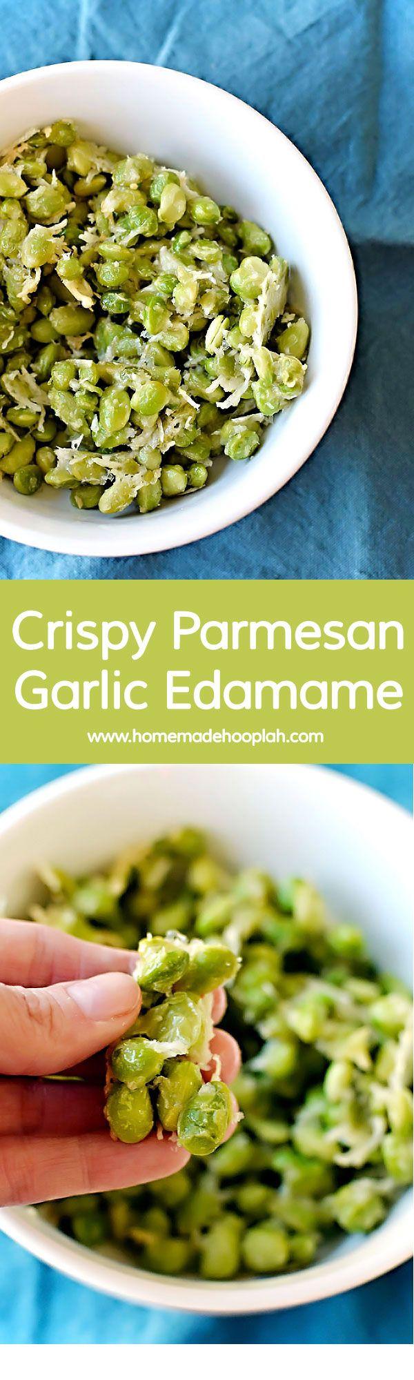 Crispy Parmesan Garlic Edamame! Baked in the oven, this parmesan garlic edamame is a tasty snack with only 123 calories! | HomemadeHooplah.com