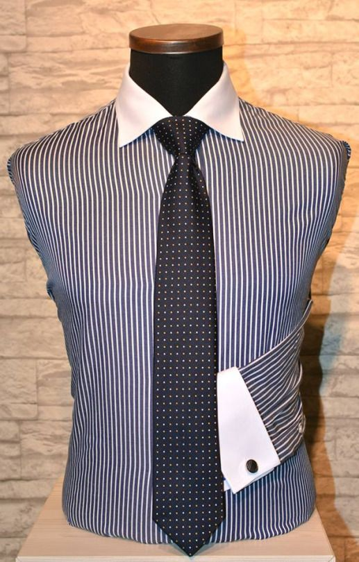 Striped shirt with white collar and cuffs = so called Wall Street look. Awesome for business.  Räätälistudio BQ - http://www.raatalistudio.fi/