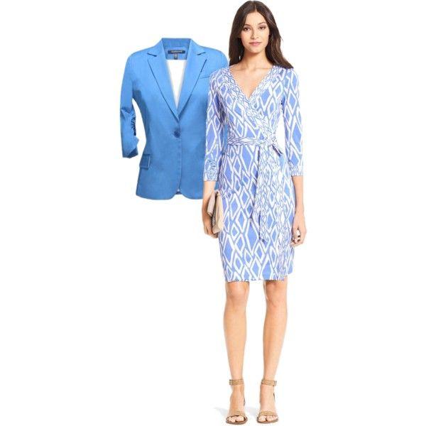 Wrap Dress with Blazer by lachiner-1 on Polyvore featuring Diane Von Furstenberg