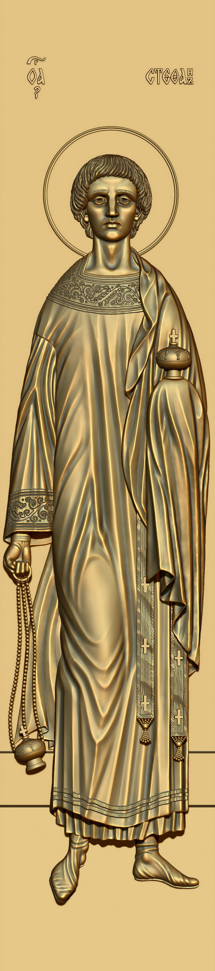 Holy Apostle Protomartyr Archdeacon Stefan. 3D model for CNC milling machine. Simulation programs: MoI, ArtCam, ZBrush. Private order.