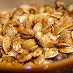 Gluten Free Pumpkin Seeds: 1 1/2 Tbs. margarine (I use butter), melted, 1/2 tsp. salt, 1/8 tsp garlic salt, 2 tsp. Worcestershire sauce, 2 C raw whole pumpkin seeds. Mix all together and Bake 1 hr. @ 275 degrees.