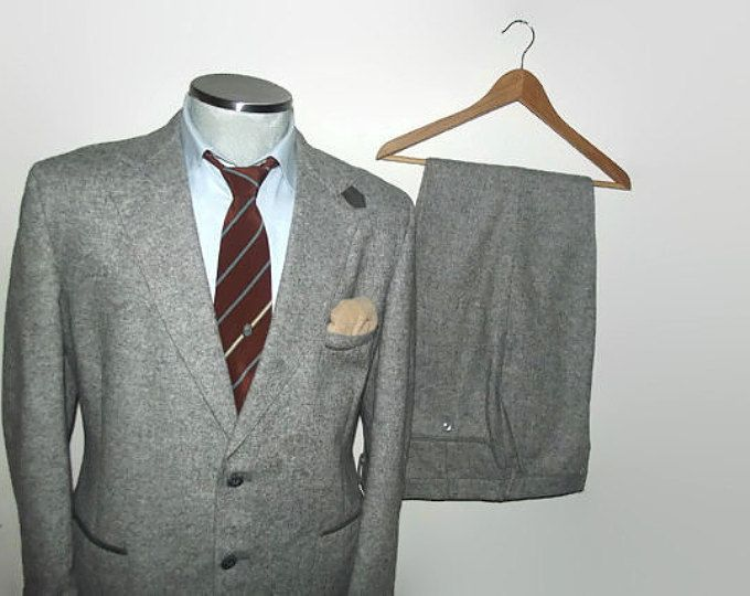 1960s Two Piece TWEED Suit Jacket & Trousers / Vintage Gray 2 Piece Tweed Suit Size 44R Large Lrg L / Pleated Patch Pockets with Trim / Men