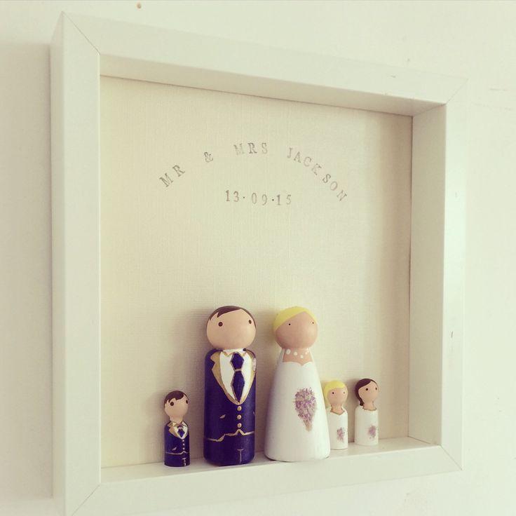 Peg People Wedding Frame, Wooden Peg People, Family Portrait, Wedding Gift  by PerfectParcels1 on Etsy https://www.etsy.com/listing/244628468/peg-people-wedding-frame-wooden-peg