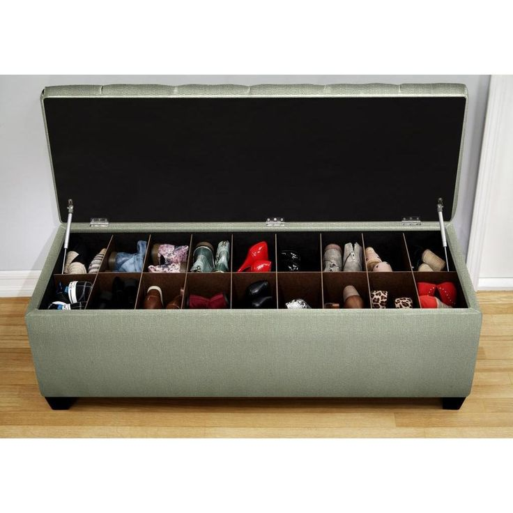 The Sole Secret Shoe Storage Bench - Candice Seafoam (Small), Green