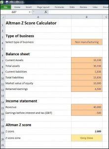 Altman Z Score Calculator - Plan Projections