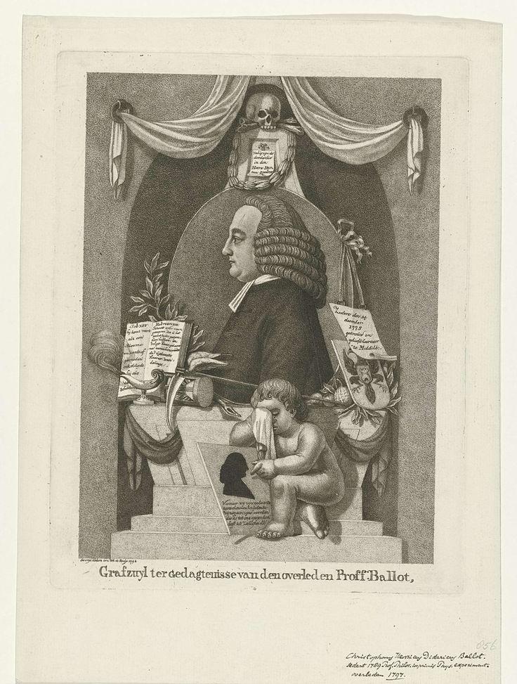 George Kockers | Grafzuil voor Christophorus Henricus Didericus Buys Ballot, George Kockers, 1798 | Grafzuil voor Christophorus Henricus Didericus Buys Ballot, hoogleraar aan de faculteit Wis- en Natuurkunde van de universiteit van Utrecht. Op de zuil staat zijn portret, ten halven lijve in profiel in een ovaal naar links, met daarboven een schedel met een lauwerkrans. Naast het portret liggen onder andere een omgevallen zandloper en een gevleugelde zeis; beiden symbolen voor tijd. Op de…