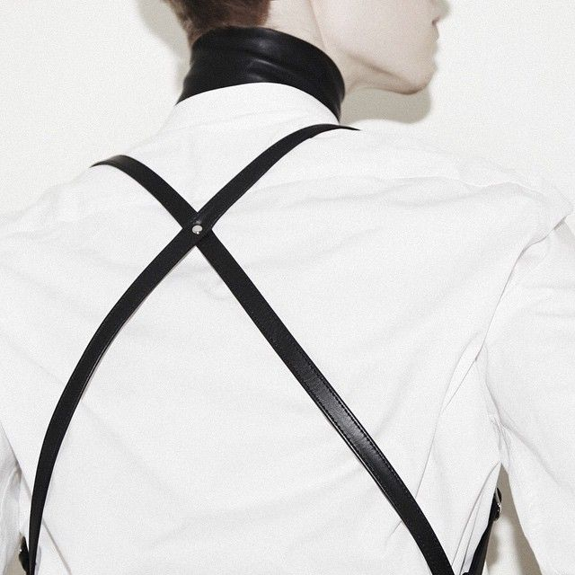 gTIE leather suspenders and collar mixed with white shirt | bwoutfits