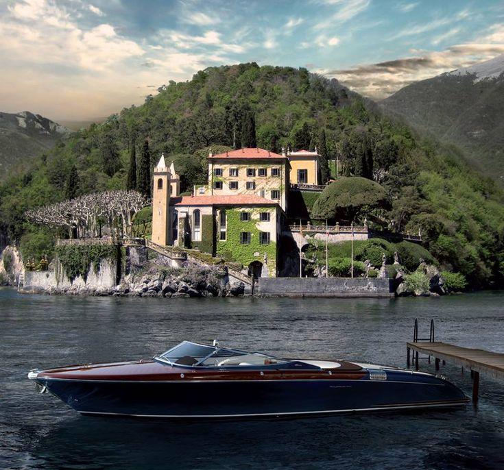 Riva Yacht in front of villa Balbianello At lake Como