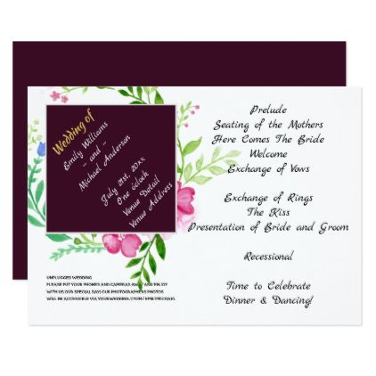 Wedding Program with Unplugged Special Thanks Aub - template gifts custom diy customize