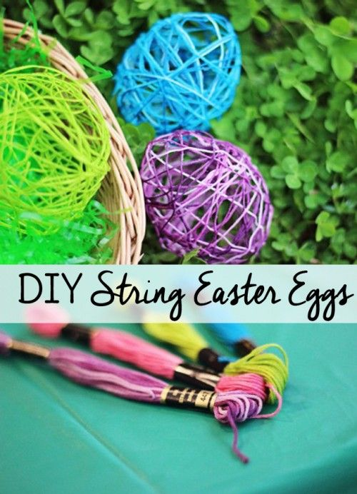 These DIY String Easter Eggs make fun little Easter crafts to make with kids or on your own. Use them as Easter decorations when you're done!