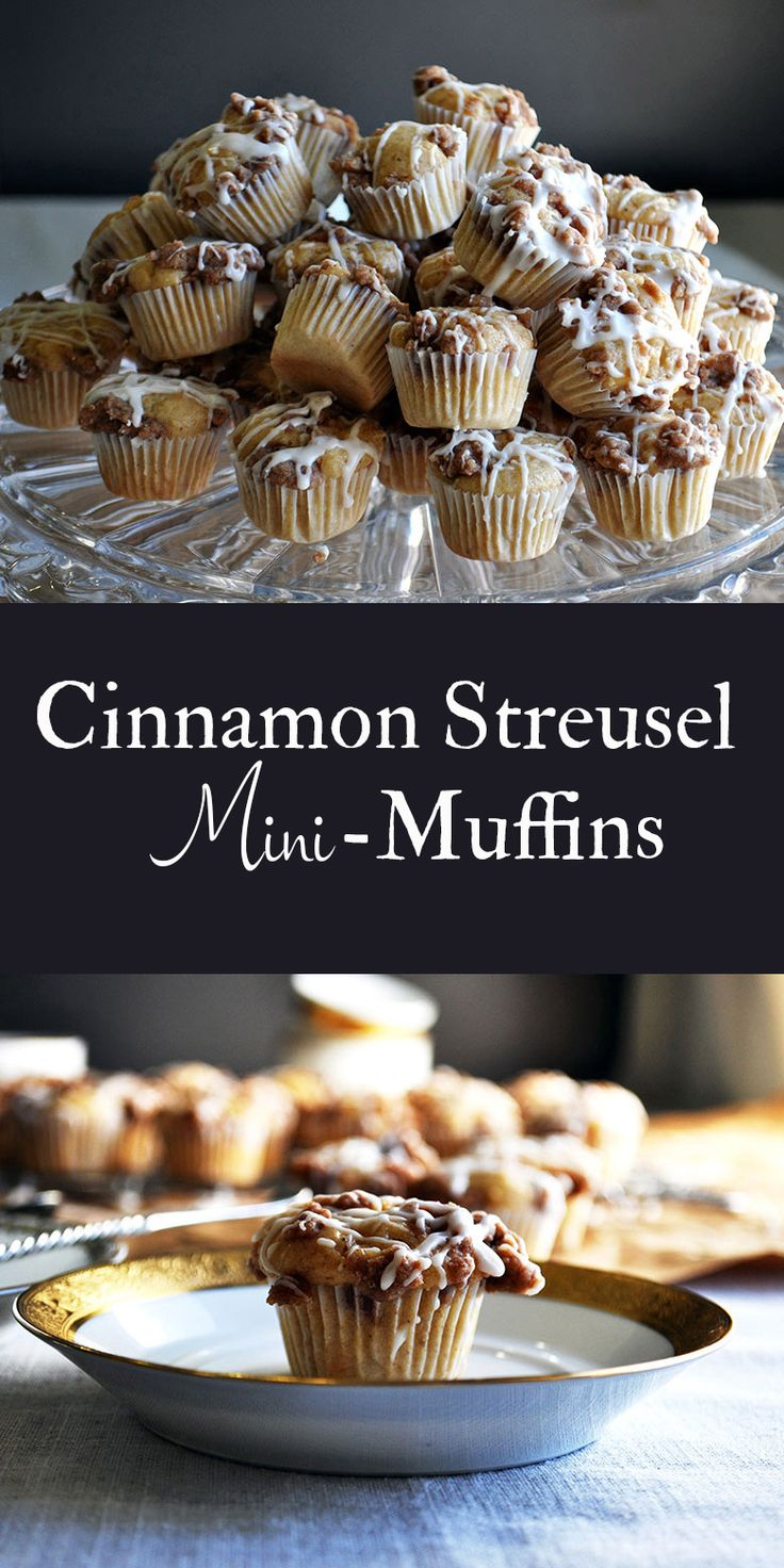 These cinnamon streusel mini-muffins, spiced with cinnamon and nutmeg and covered in buttery brown sugar streusel and vanilla glaze, are adorable and jam packed with flavor, proving that the best things really do come in small packages.