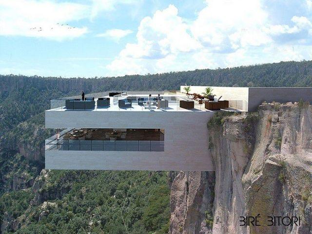 C'est un bar-restaurant luxueux et unique qu'ont imaginé les designers de Tall Arquitectos : le Biré Bitori se trouve comme suspendu à la falaise, face à un panorama grandiose, orné d'une cascade ... #maisonAPart