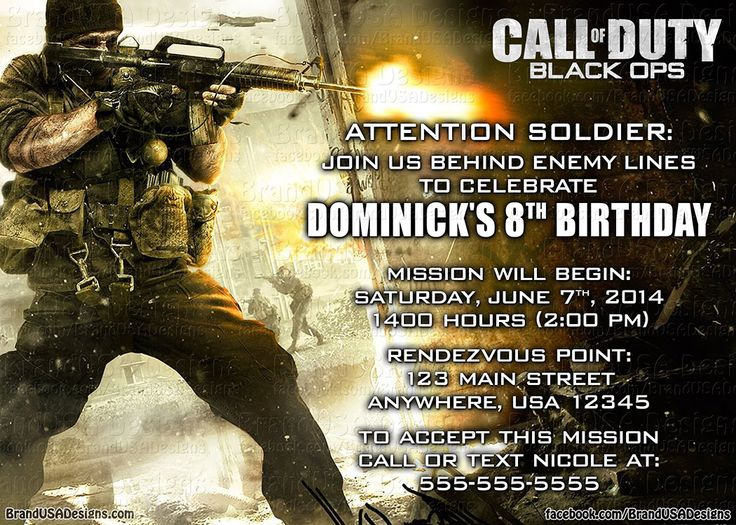 79 best call of duty images on pinterest black ops birthdays and call of duty custom birthday invitation 15 filmwisefo Image collections