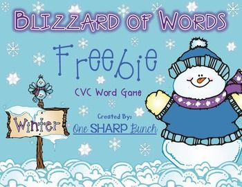 "Practice CVC words with this fun winter themed FREEBIE!  Choose a card from the cup and stretch it out.  If you can read it correctly, keep the card.  If you cannot, put the card back inside the cup.  For added fun, use the ""Blizzard"" and ""Melted"" cards!"