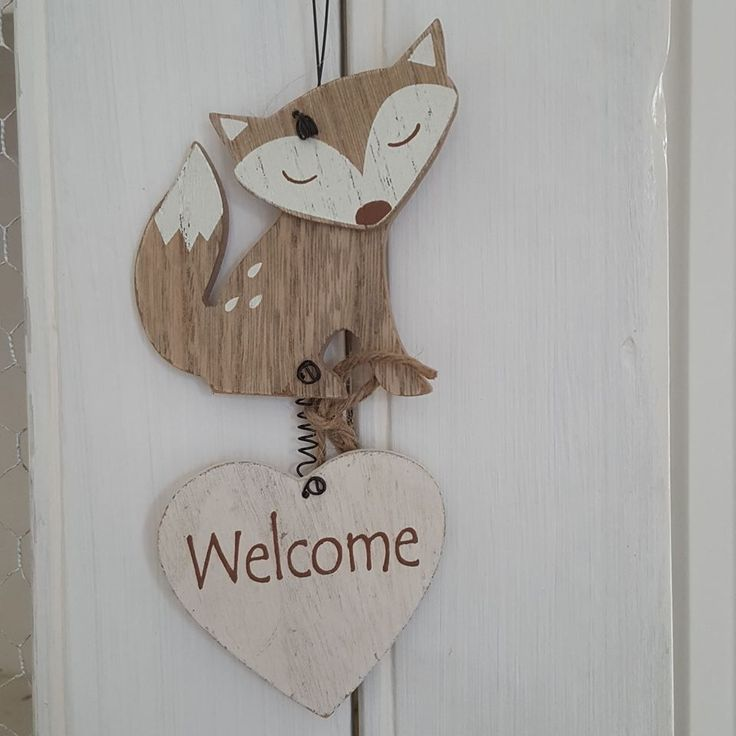 WELCOME HEART WITH CUTE FOX CHIC N SHABBY WOODEN DOOR OR WALL SIGN via Bluelake Interiors. Click on the image to see more!