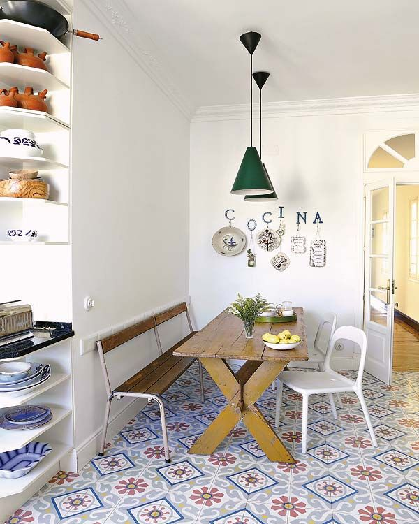 Encaustic tiled floor / French doors / open shelves - nice (just ditch the wall letters)