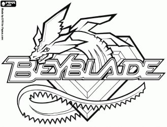 Beyblade logo with the dragon coloring page