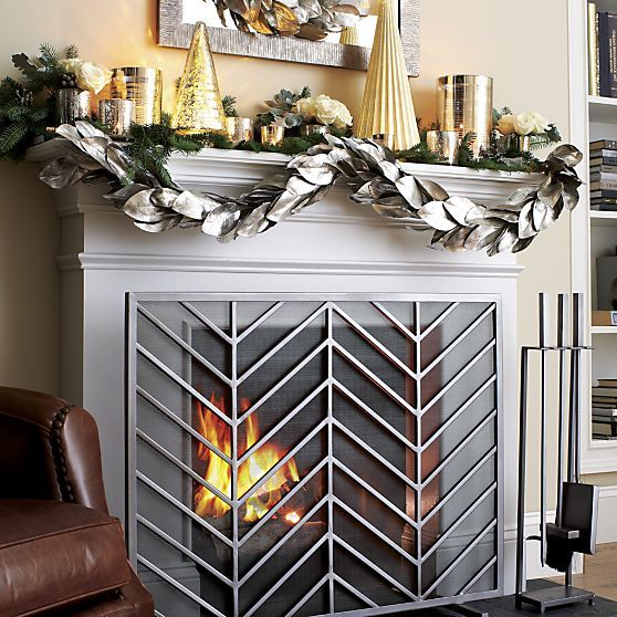 Chevron Fireplace Screen  | Crate and Barrel   | I just found this at the Crate and Barrel store in Houston for 50% off! Our fireplace is a little larger than the one in the picture and it fits perfectly. /kf