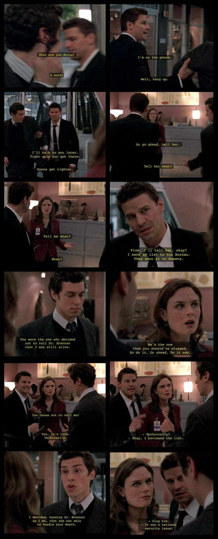 "Booth and Brennan - ""The Pain in the Heart"" I swear she did that just to rile Booth up a bit"