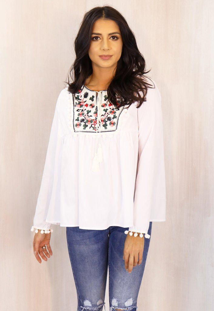 Embroidered Panel Pom Pom Cotton Long Sleeve Smock Top in White