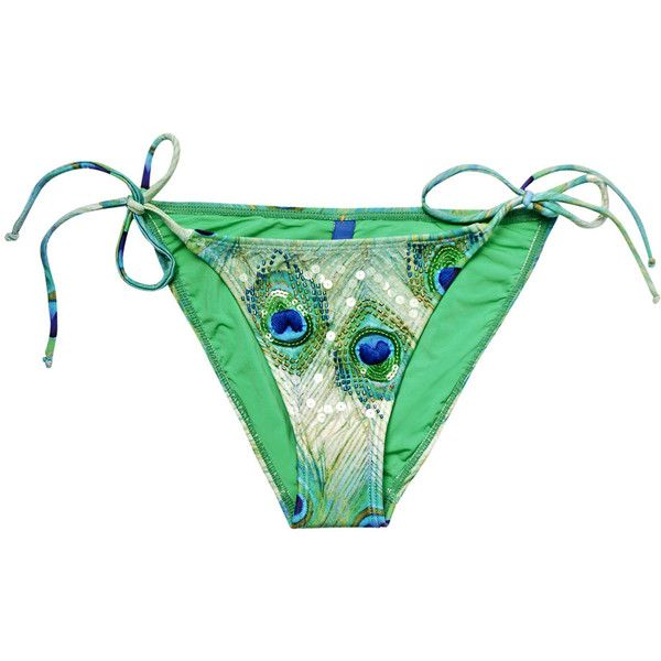 ViX Paraty peacock bikini bottoms ($127) ❤ liked on Polyvore featuring swimwear, bikinis, bikini bottoms, swimsuit, bathing suits, swim suits, swimsuits two piece, bikini bathing suits, gold bikini bottoms and green bikini swimsuit