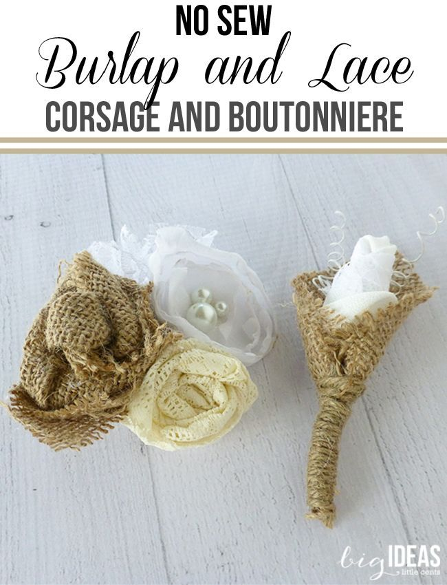 Simple and quick No Sew Matching burlap and lace corsage and boutonniere sets. Perfect for weddings, dances, parties, anniversaries. Shabby Chic and elegant. Vintage or  Country rustic weddings.