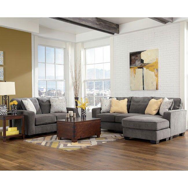 Hodan - Marble Living Room Set grey yellow tan sectional - ashley living room sets