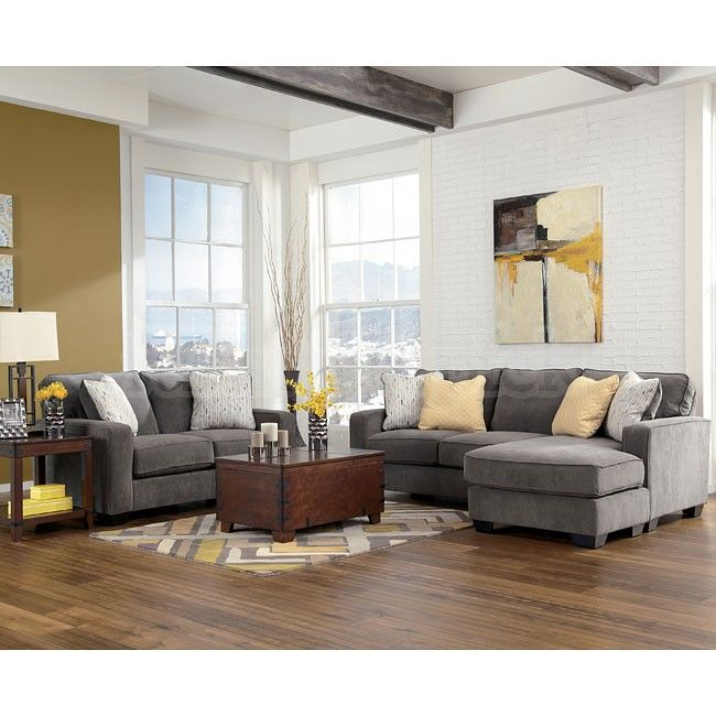 Hodan Marble Living Room Set Grey Yellow Tan Sectional