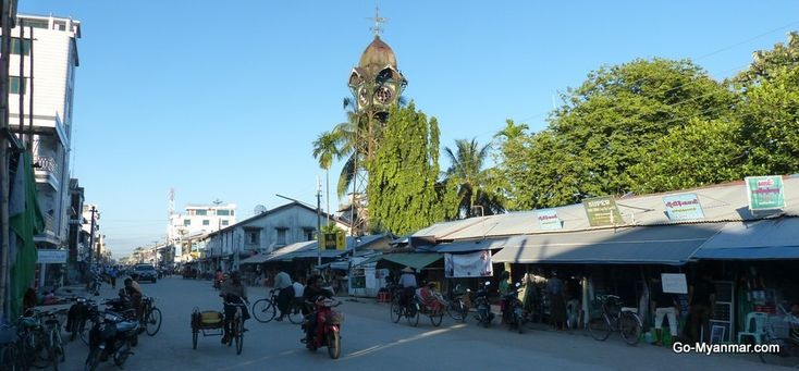 Sittwe central market and clock tower